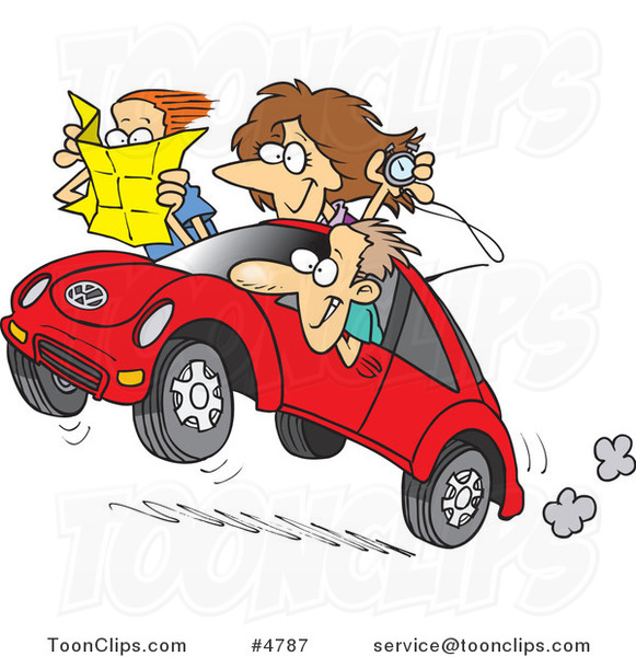 Cartoon Family Driving a Rally