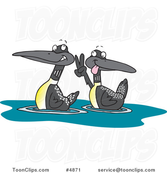 Cartoon Pair of Loons #4871 by Ron Leishman
