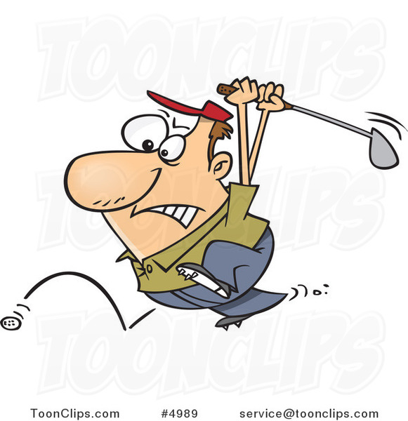 Cartoon Golfer Swinging at His Last Ball