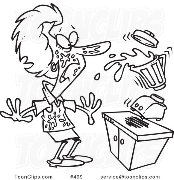 Line Art Juice : Cartoon coloring page line art of a lady getting splashed