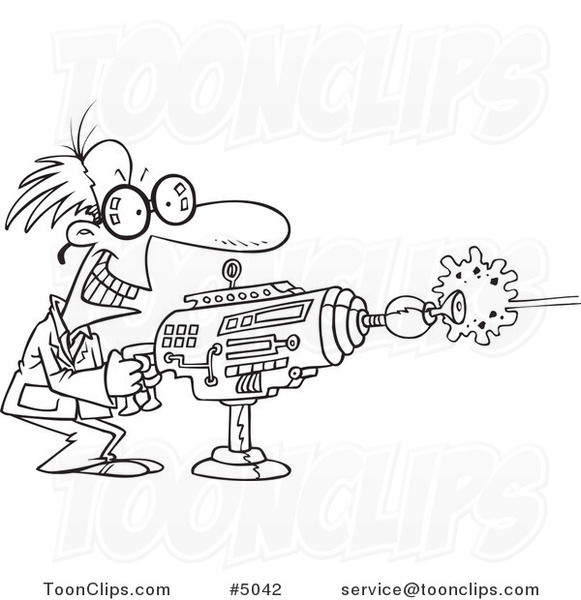 ... Black and White Line Drawing of a Scientist Using a Laser Gun #5042