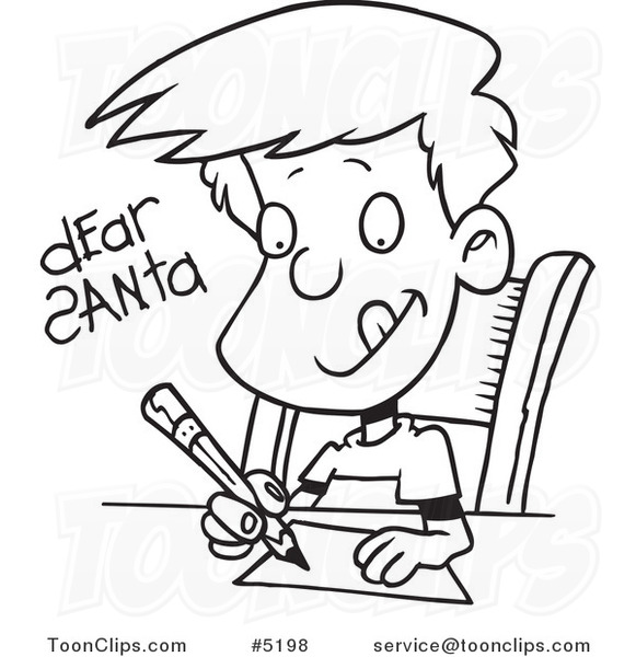 cartoon black and white line drawing of a boy writing a