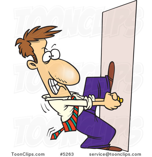 Cartoon Locked Out Business Man Trying To Open A Door