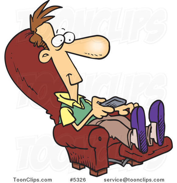 Cartoon Guy Sitting in a Recliner and Watching Tv
