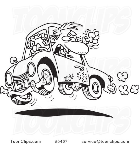 Cartoon Black And White Line Drawing Of A Driver With Road Rage 5467 By Ron Leishman