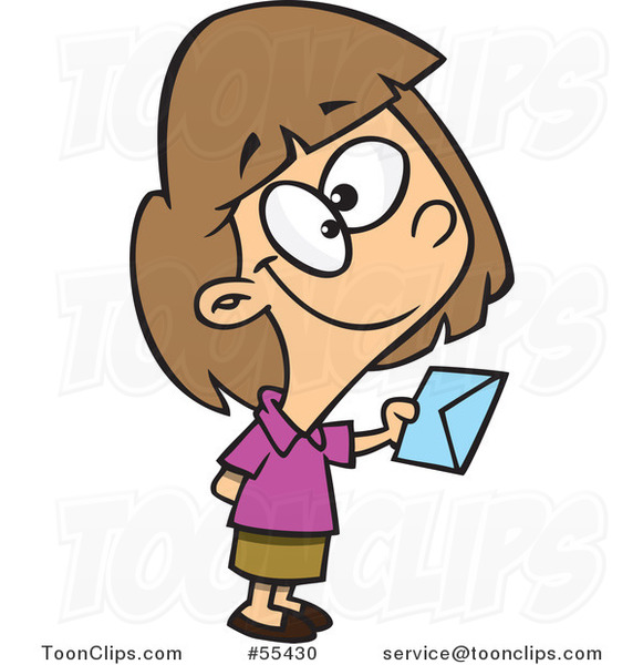 Cartoon Sweet Girl Holding out an Invitation #55430 by Ron ...