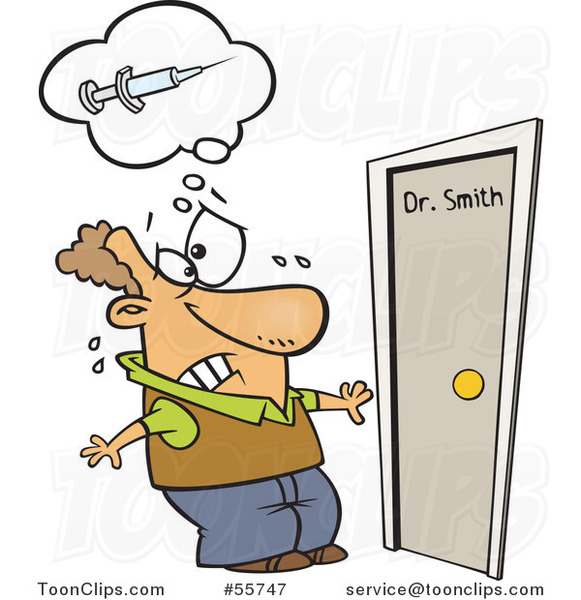 Cartoon White Guy Afraid of Needles Approaching a Doctors Office ...