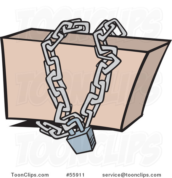 Cartoon Box Locked Up In Chains 55911 By Ron Leishman