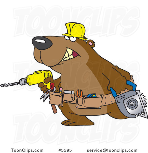 Cartoon Handy Bear with Tools