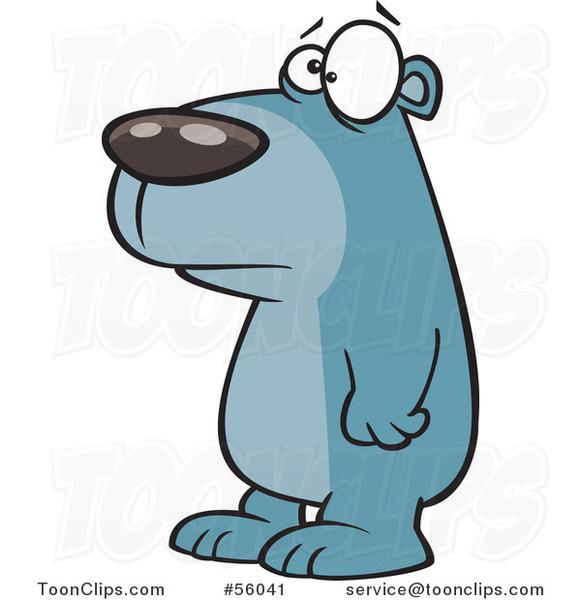 Cartoon Sad Blue Bear Facing Left