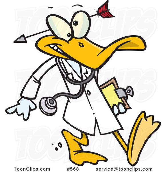 Cartoon Crazy Quack Pshchiatrist Duck