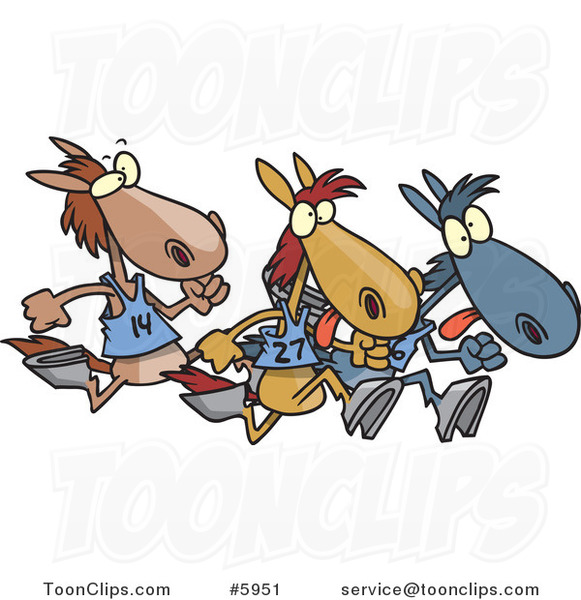 Cartoon Racing Horses