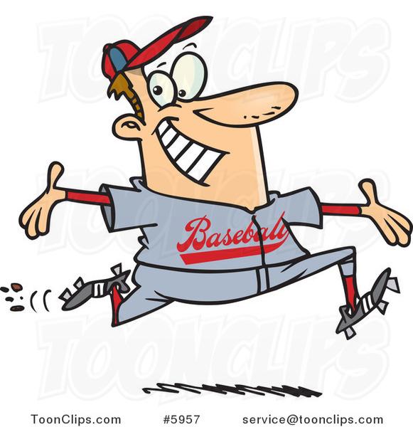 Cartoon Baseball Guy Making a Home Run #5957 by Ron Leishman