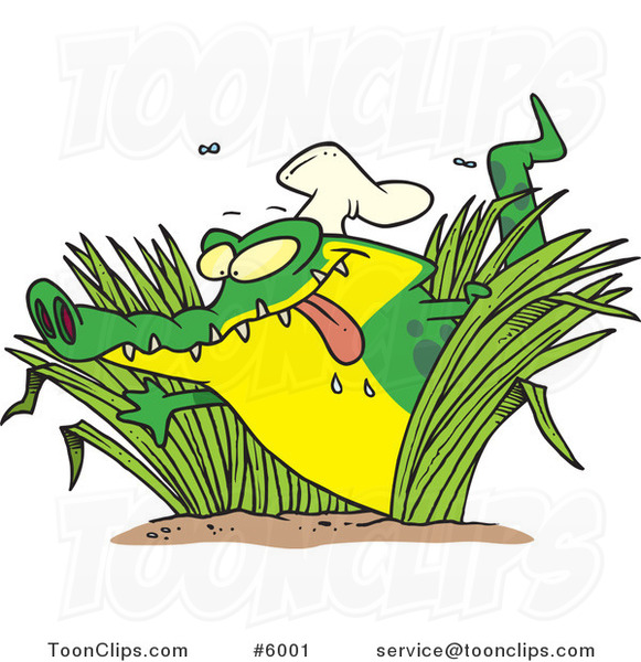 Cartoon Hungry Chef Gator in Grasses