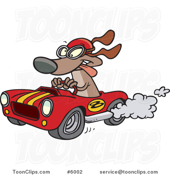 Cartoon Dog Racing a Hot Rod