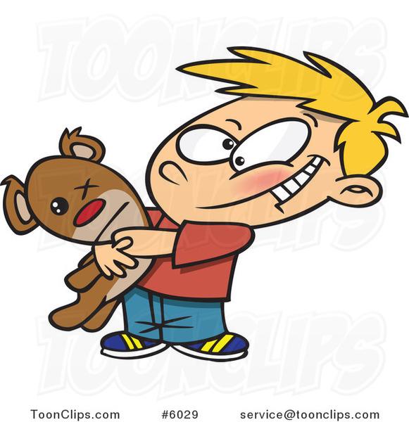 Cartoon Boy Hugging His Mangled Teddy Bear #6029 by Ron Leishman