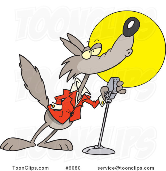 Cartoon Howling Wolf in the Spotlight