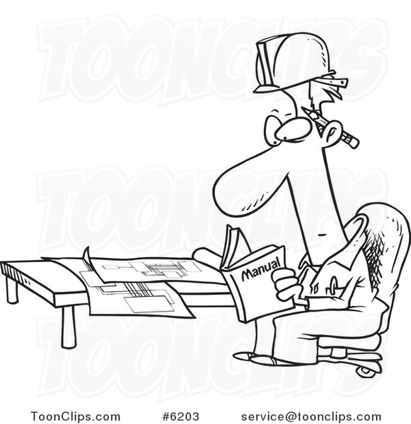 Cartoon Black And White Line Drawing Of An Engineer Reading A Manual