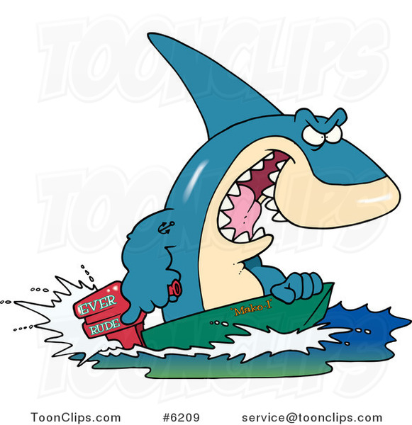 Cartoon Shark Steering a Boat
