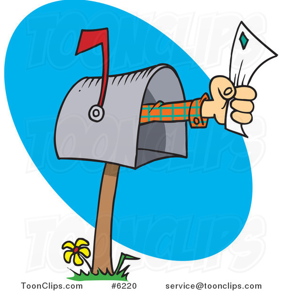 Cartoon Hand Holding A Letter Out Of A Mailbox 6220 By