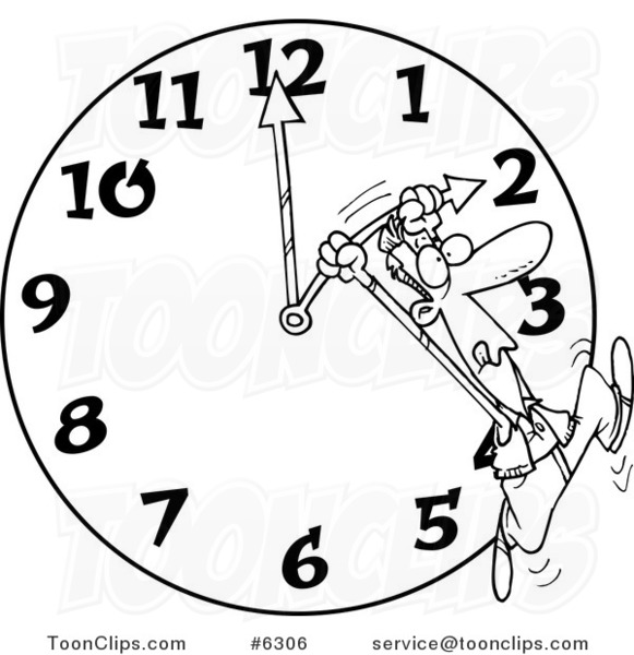 Line Drawing Clock : Cartoon black and white line drawing of a guy on