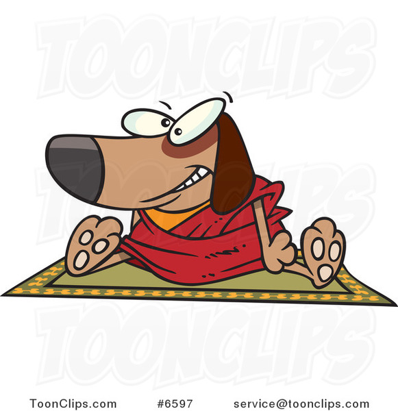 Cartoon Doggie Lama Sitting on a Rug