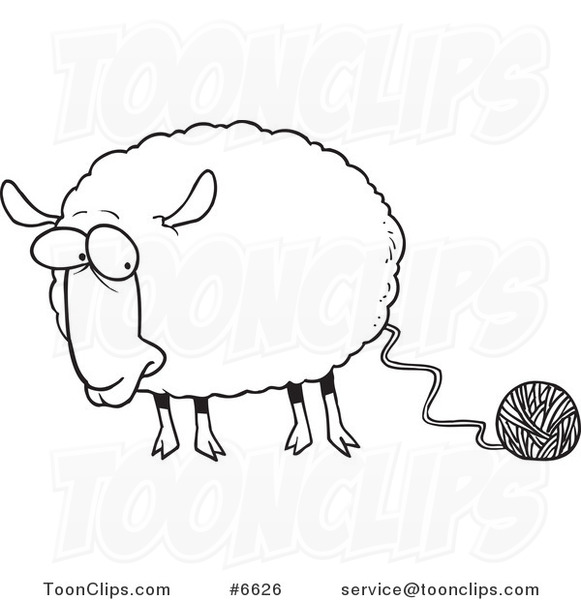 Line Drawing Yarn : Cartoon black and white line drawing of a sheep connected