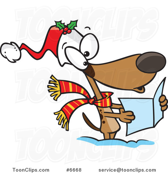 cartoon dog singing christmas carols 6668 by ron leishman