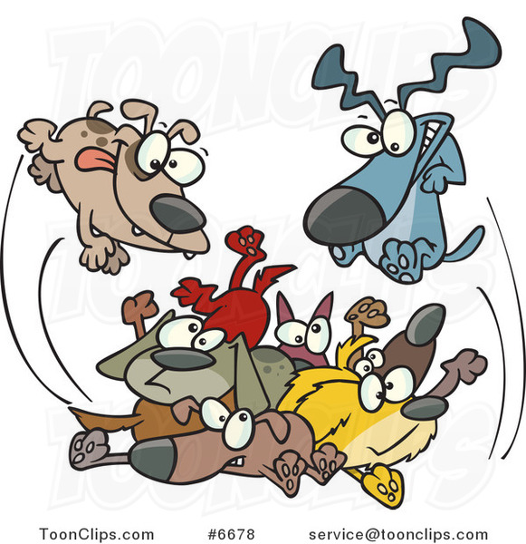 Cartoon Dogs Jumping in a Pile