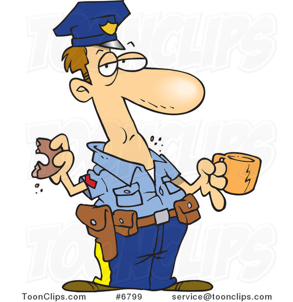 Cartoon Police Guy Eating a Donut