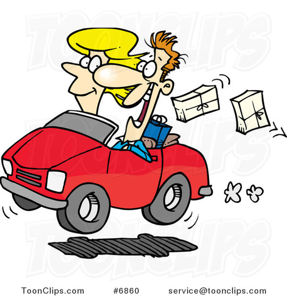 Cartoon Couple In A Car Dropping Packages 6860 By Ron Leishman