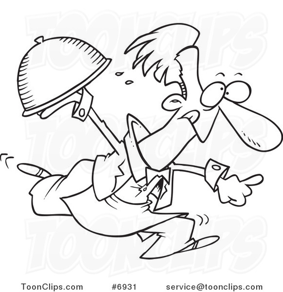 Line Drawing Food : Cartoon black and white line drawing of a waiter serving