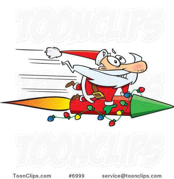 Cartoon Santa Riding a Fast Rocket