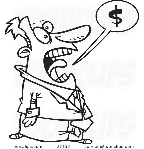 Line Drawing Money : Cartoon black and white line drawing of a business man