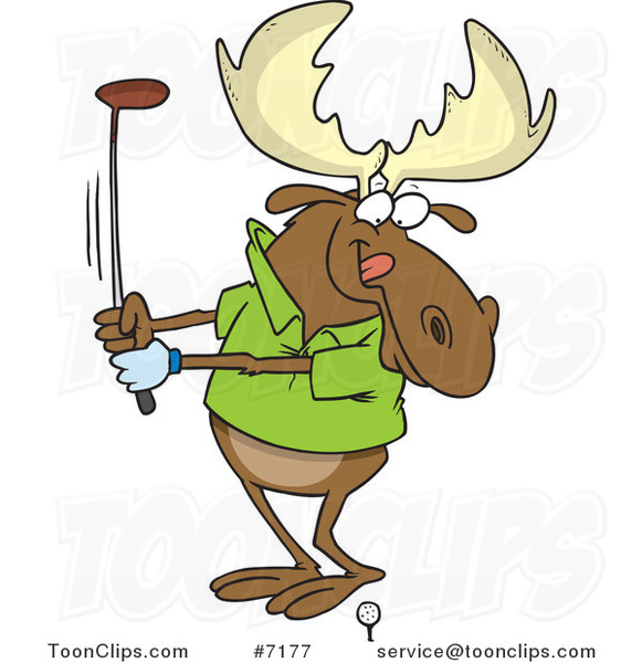 Cartoon Golfing Moose