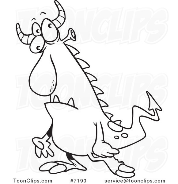 Line Drawing Monster : Cartoon black and white line drawing of a confused monster