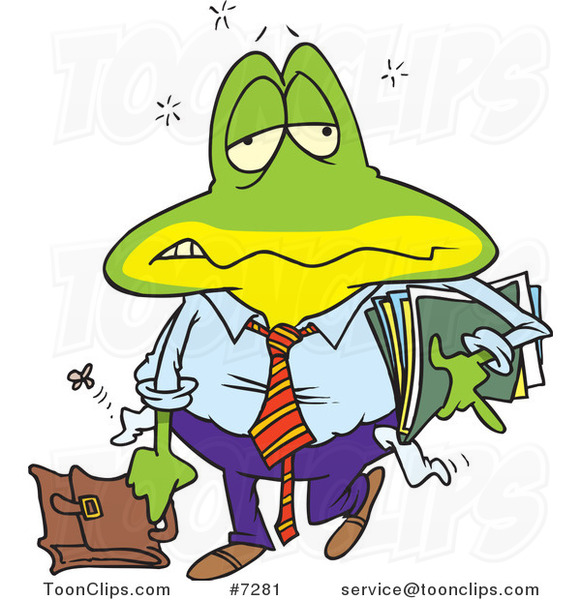 Cartoon Tired Frog Business Man