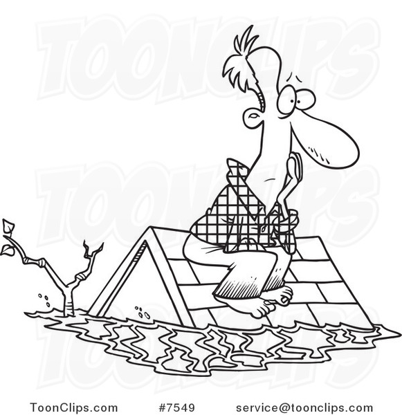 Cartoon Black and White Line Drawing of a Flood Survivor Sittin on His ... Easy Drawings Of Tom And Jerry