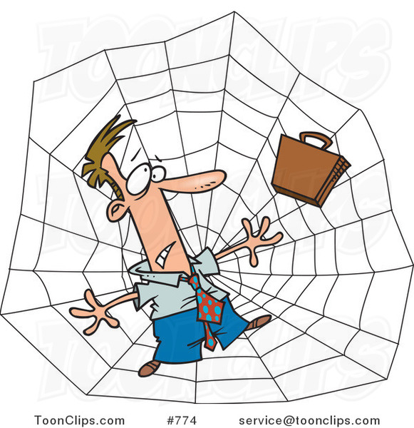 Cartoon White Business Man Caught in a Web