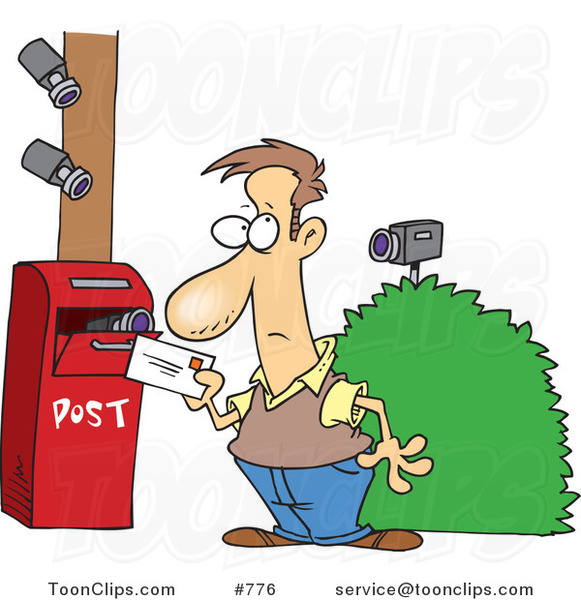 Cartoon Security Cameras on a Guy Putting a Letter in a ...
