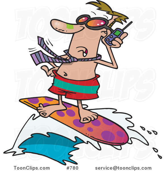 Cartoon White Business Man Talking on a Cell Phone While Surfing