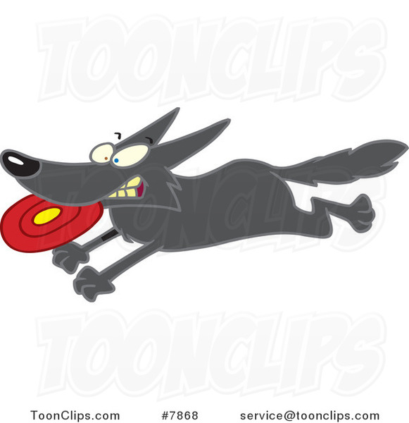 Cartoon Dog Running with a Frisbee