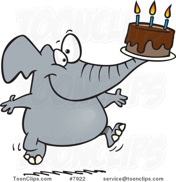 Cartoon Birthday Elephant Carrying a Cake