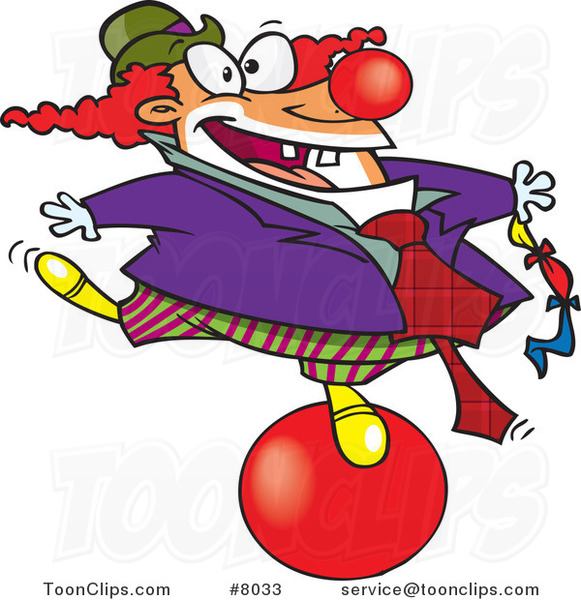 Cartoon Clown Balancing on a Ball