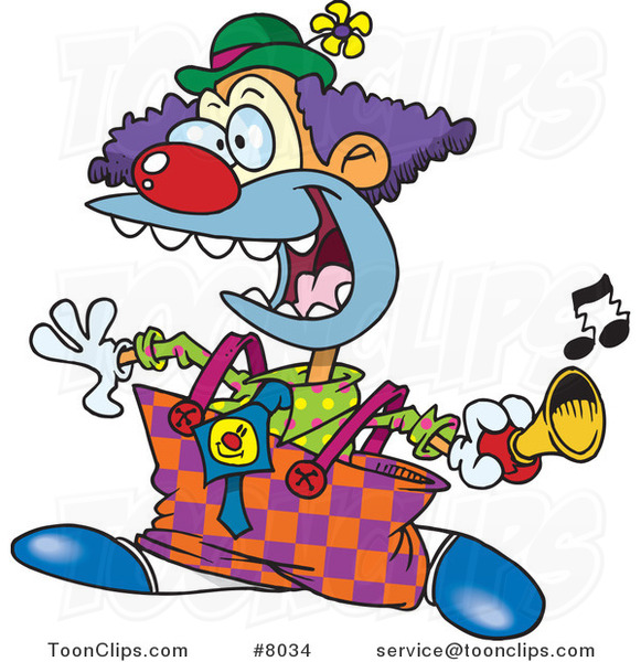 Cartoon Party Clown Using a Horn