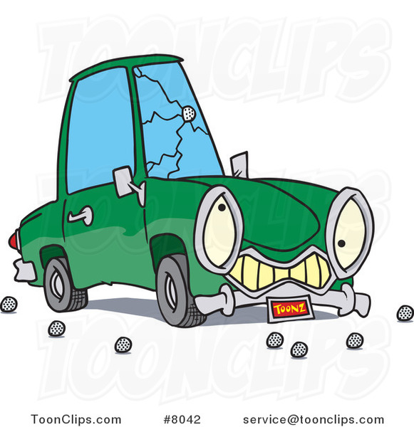 Cartoon Car with a Cracked Windshield