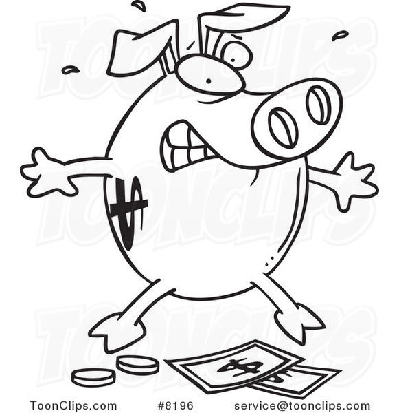 Line Drawing Piggy Bank : Cartoon black and white line drawing of a piggy bank over