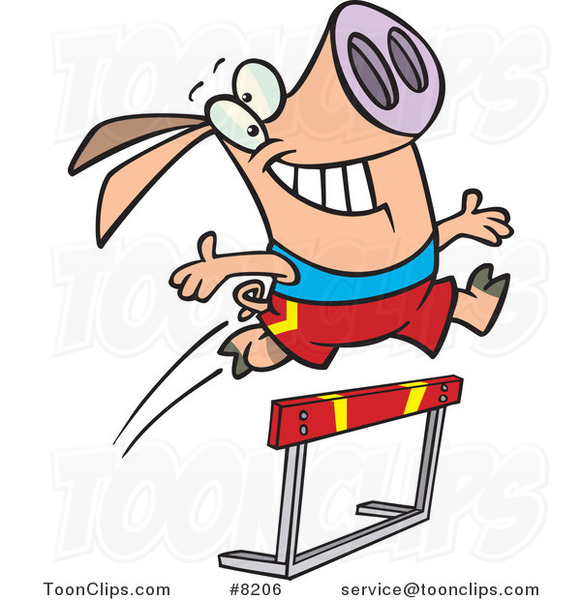 Cartoon Pig Leaping over a Hurdle #8206 by Ron Leishman