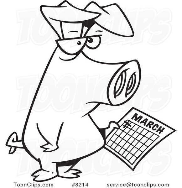 Calendar Drawing Cartoon : Cartoon black and white line drawing of a pig holding