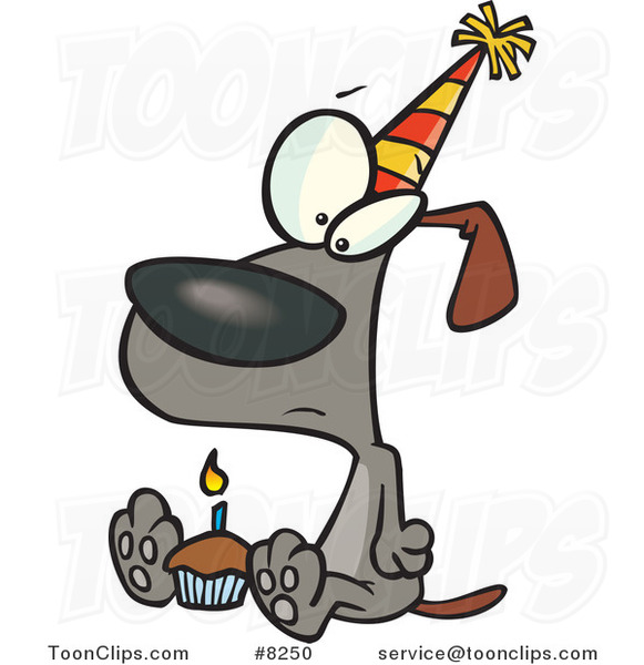 Cartoon Lonely Birthday Dog with a Cupcake